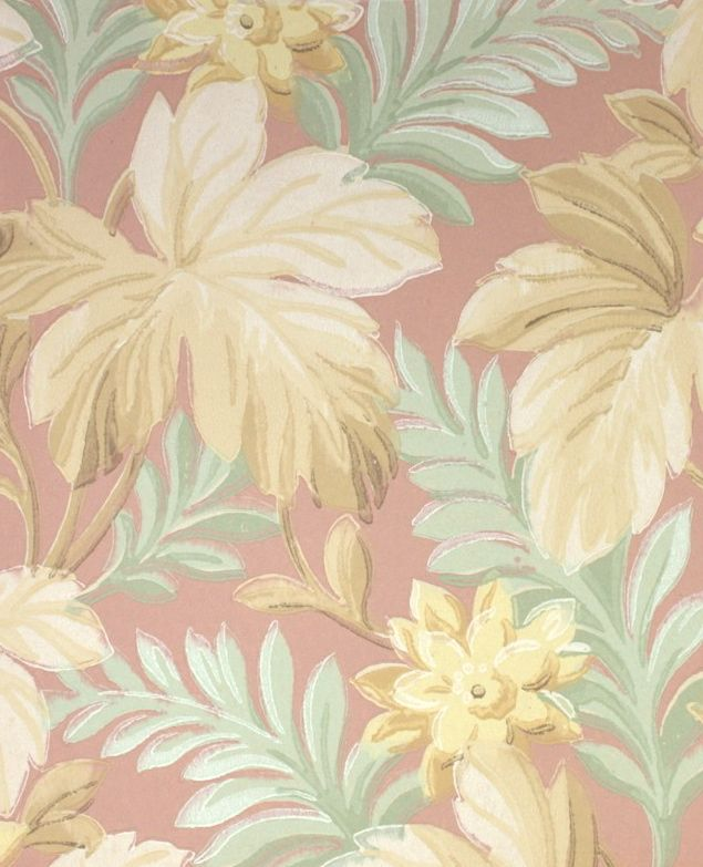 Botanical Vintage Wallpaper Peach Mint And Yellow Leaves