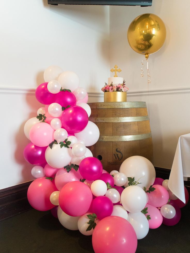 Pink Balloon Garland for a Christening #Goldorbz #Pinkballoongarland #Balloongarland #Balloonarch #Vintage #Balloons #Christening #Christeningideas #Baptism #Baptismideas #Pinkballoons #Goldballoons #Partyideas #Girls #Cake #Artificalleaves #Decor #Partydecor #Adelaideballoons #Balloonsadelaide