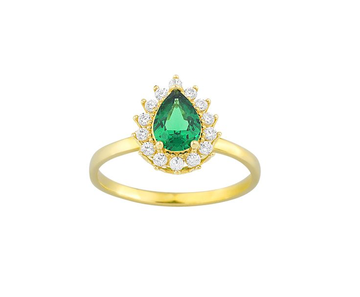 gold ring with zircons in 14K