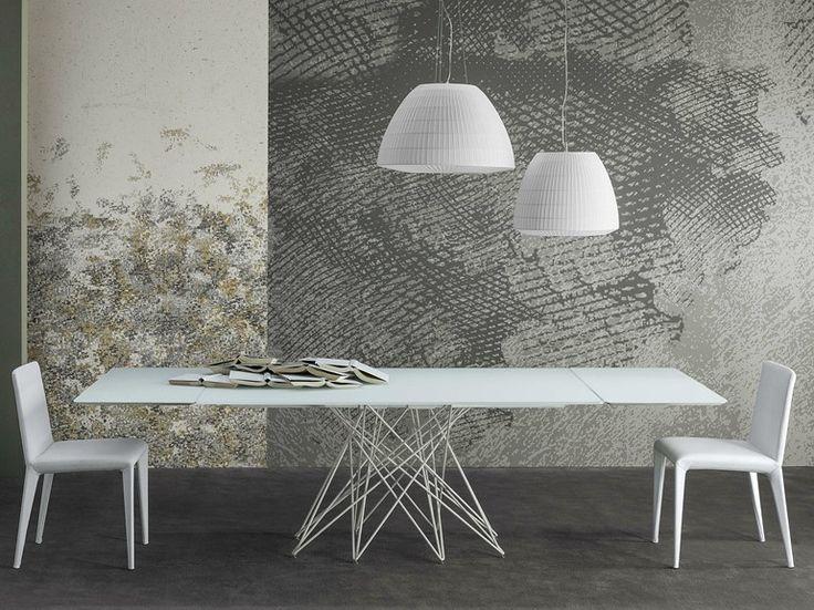 Ausziehbarer Tisch aus geätztem Glas OCTA by Bonaldo | Design Bartoli Design