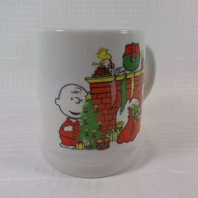 1978 Charlie Brown Snoopy Woodstock Merry Christmas Coffee Tea Cup Mug Schulz