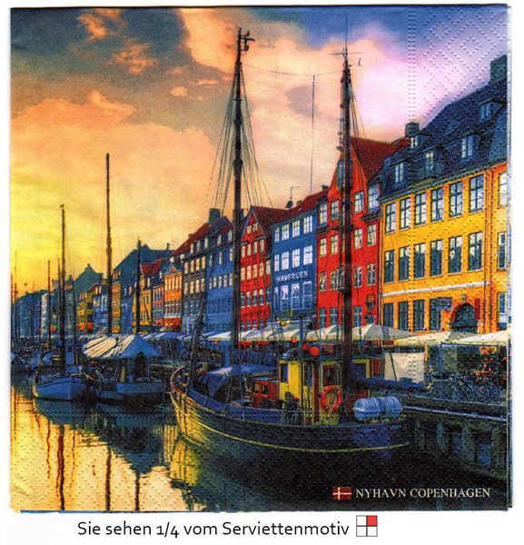 Hafen von Nyhavn Copenhagen - 1 Serviette von Serviettenhaus auf DaWanda.com