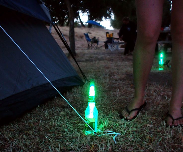 Prevent midnight tripping hazards over your tent on your next camping trip by showing where your tent guy wires are with illuminated Mike's Hard Lemon...