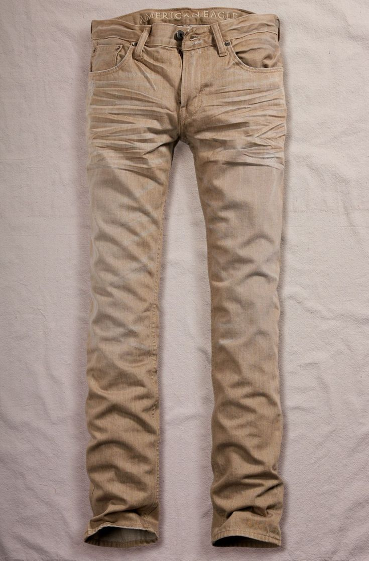 Tan American Eagle Jeans Men's. Definitely have to get me a pair of these, so fly. #AEOStyle