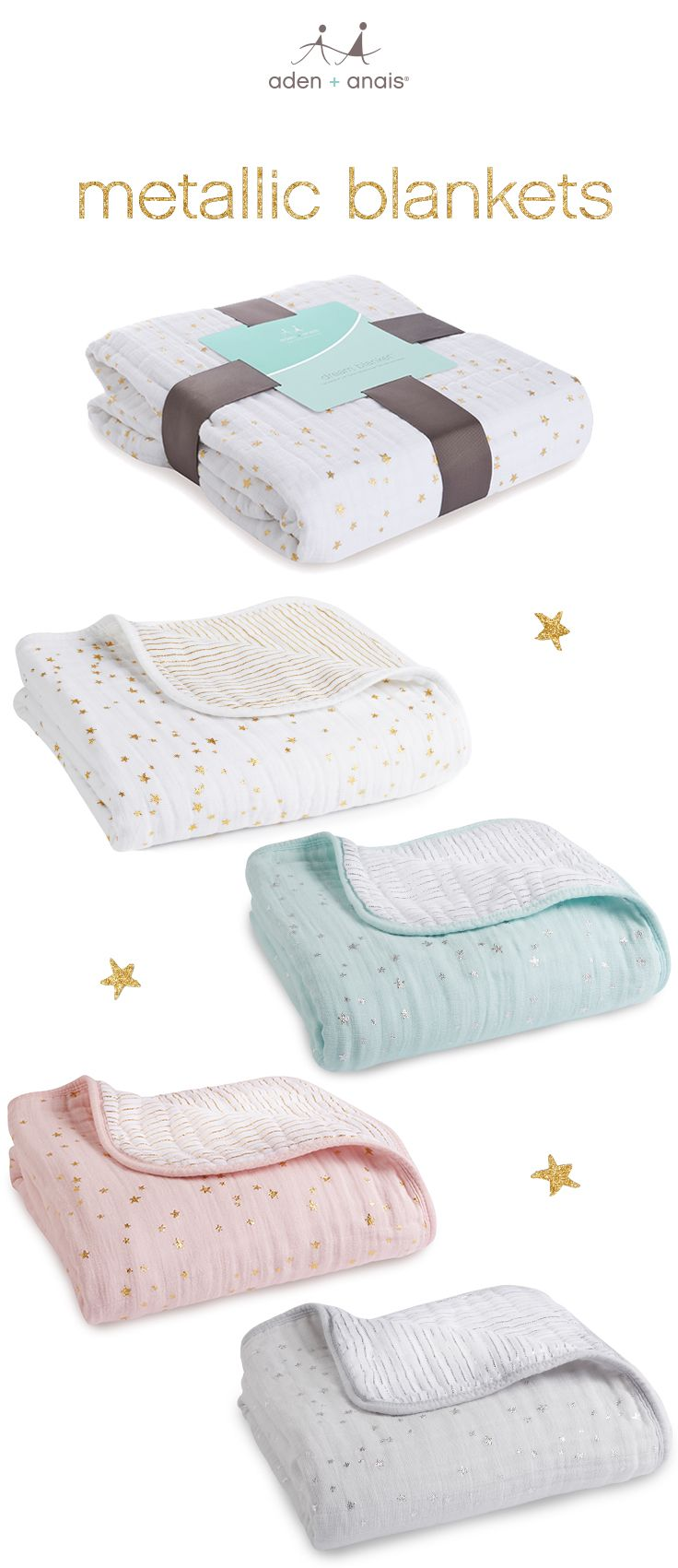 you won't find a dreamier baby gift. four layers of soft cotton muslin make this blanket soft and snuggly, wash after wash. the aden + anais dream blanket gets a glam new upgrade with modern, metallic ink prints on our classic soft, cotton muslin in gold, skylight, primrose and charm. it's a luxe new collection you'll love.