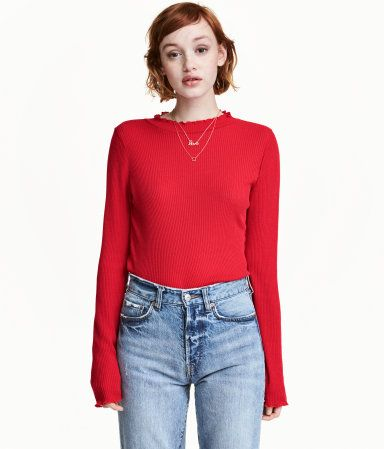 Red. Mock-turtleneck sweater in a soft rib knit with overlocked ruffled edges and long sleeves.