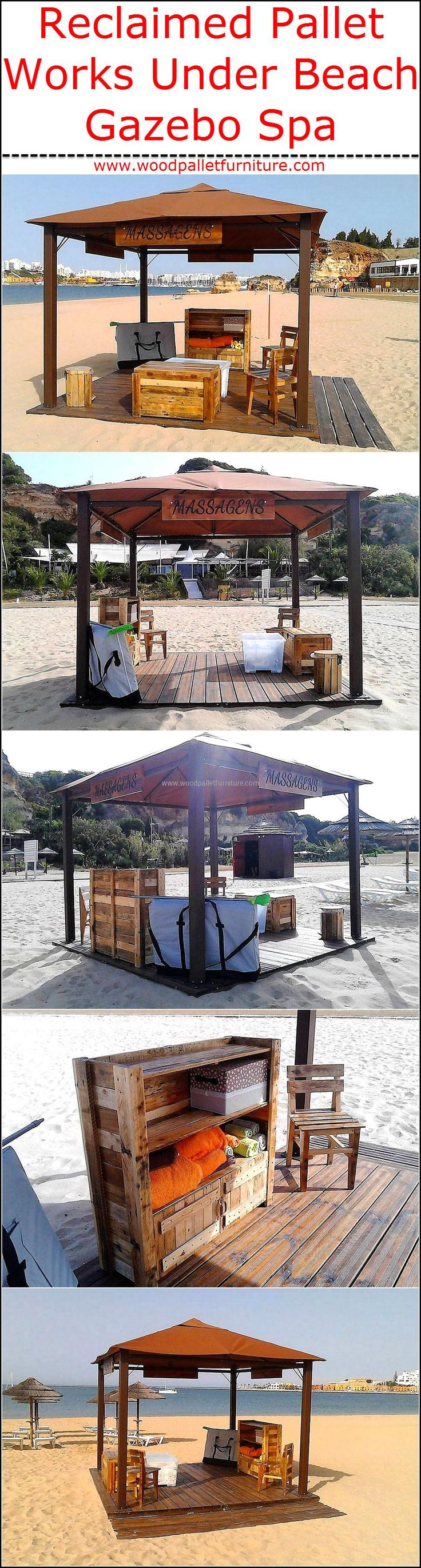 Some people don't prefer to reshape the wooden pallets into the furniture because they think that it looks weird and it doesn't add value to the home, which is not true as the wooden pallets are used by the professional service providers as well which you can see here. The images of reclaimed wood pallet works under beach Gazebo Spa are gathered by us for the individuals who are living with the misconception. Almost everything in the Spa is made up of wooden pallets and the pallets are…
