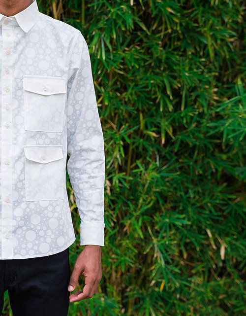 Peta Odini white on white polka dot long sleeve shirt with double pocket detail