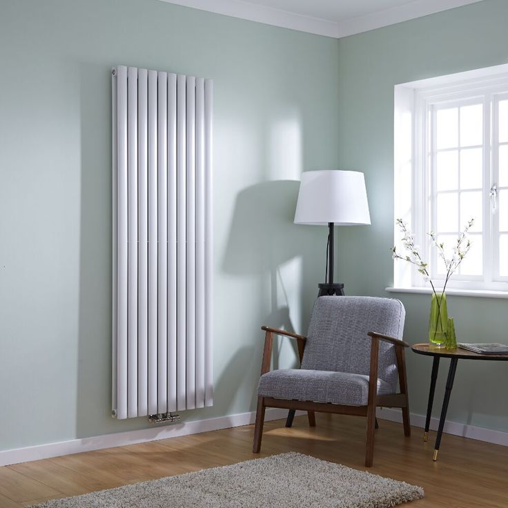 Milano Aruba Flow - White Vertical Double Panel Middle Connection Designer Radiator 1780mm x 590mm