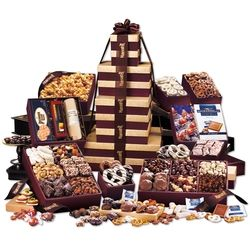 BG1537 - Gourmet Food Gift-   Ultimate Office Party Tower-Our largest tower ever! 22 gourmet treats packed into nine rich burgundy and gold gift boxes (yes, they are reusable). Serves 50 people or more!