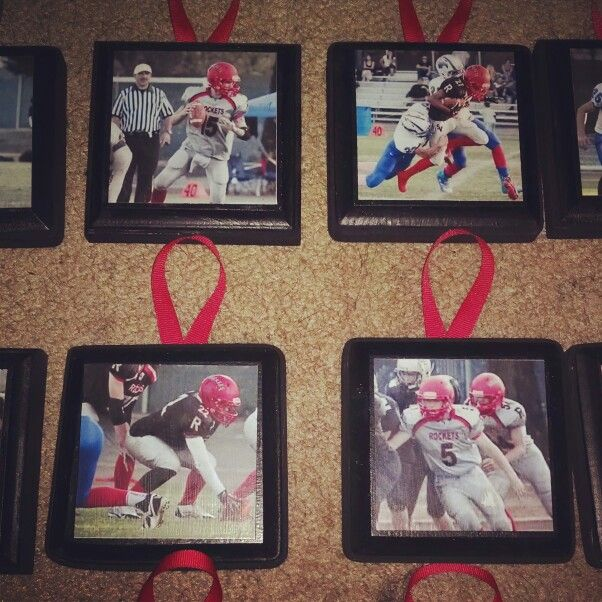 Football Gifts. Made these for the boys. Modge podge action shots.