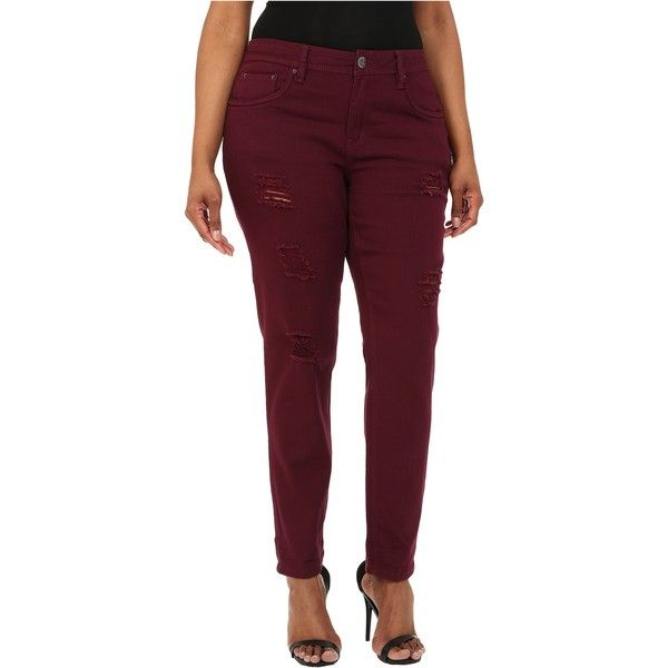 dollhouse Plus Size Sangria Destructed Full Length Skinny Jeans w/... ($17) ❤ liked on Polyvore featuring jeans, burgundy, distressed skinny jeans, high waisted ripped skinny jeans, skinny jeans, plus size skinny jeans and burgundy skinny jeans