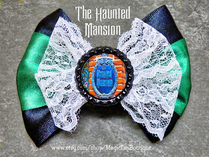 The Haunted Mansion Disney Bow-Disneyland Bow-Walt Disney World Bow-Disney Hair Clip-Hair Bows-Disney Accessories-Disney Barrette by MagicFanBoutique on Etsy