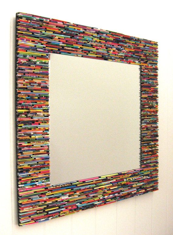 Colorful square mirror wall art made from recycled for Diy colorful wall art