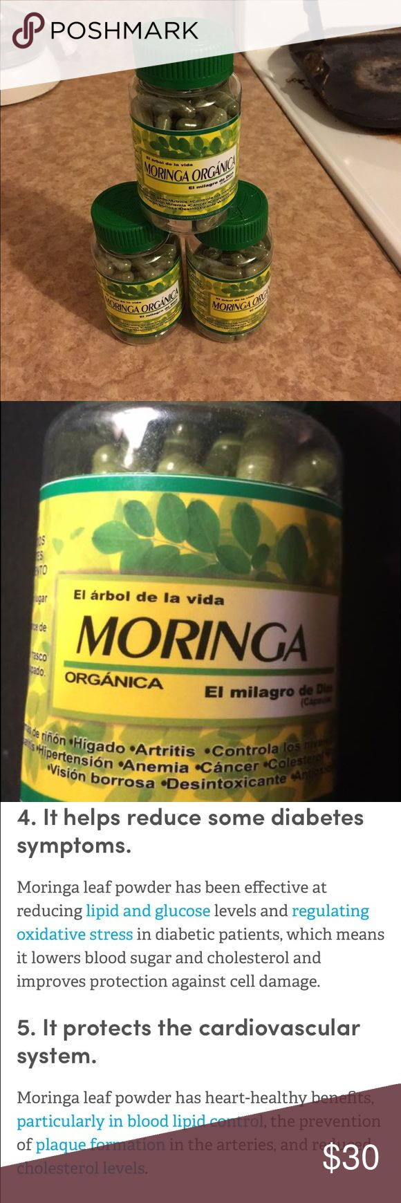 Moringa capsules 💯organic 90 capsulesof moringa  💯organic and natural it help prevent and give the cure of many of health problems people has like help control the high sugar level on the blood reduce the cholesterol,hepatitis, weight problems, anemia cancer, artrithis and many more take 2 capsules per day with plenty water Organic  Other