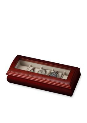 Mele  Co. Brown Emery Glass Top Watch Jewelry Box - Online Only