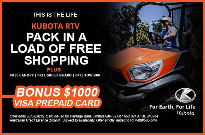 Kubota have also put together a package that we frankly think is amazing value. With every Kubota RTV 400/500 sold, they will throw in a heap of freebies, including a free canopy, free grille guard and a free towbar, as well as a $1,000 Visa prepaid credit card to do whatever you please with.