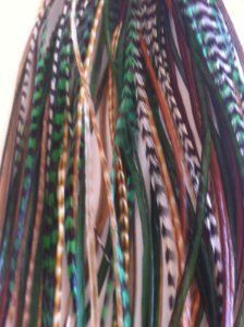 """Feather Hair Extension 6 Feathers 4"""" -7"""" Mix Green, Brown,grizzly and Giner Grizzly for Hair Extension by SEXY SPARKLES. $6.99. SALON QUALITY FEATHERS. 2 SILICONE CRIMP BEADS. 5 FEATHERS RANGING 4""""-6"""" IN LENGTH BONDED TOGETHER TO MAKE ONE EXTENSION. INSTRUCTIONS ARE INCLUDED ON HOW TO APPLY. 5 FEATHERS RANGING 4""""-6"""" IN LENGTH BONDED TOGETHER TO MAKE ONE EXTENSION"""