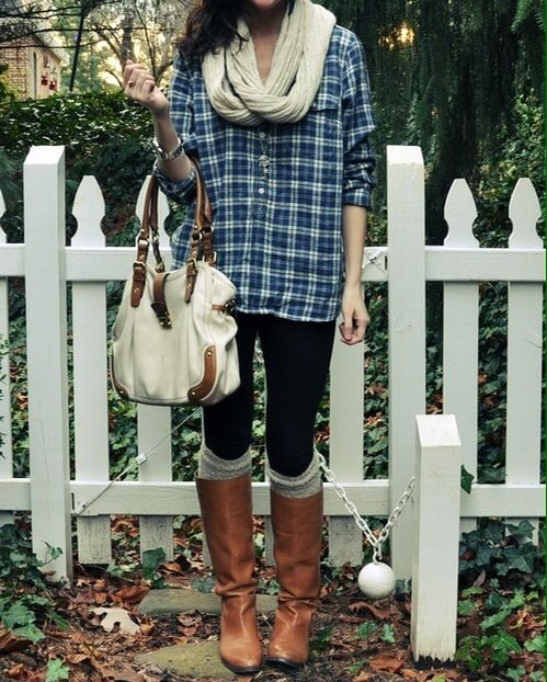 blue flannel with tall brown boots