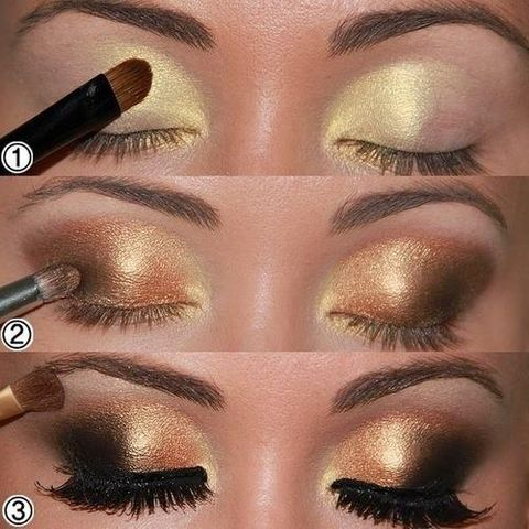Sombra dorada con negro para los ojos