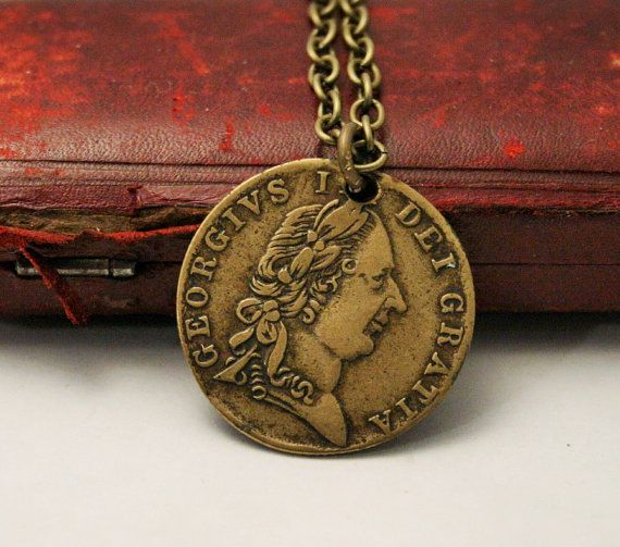 Coin pendant. Old British coin necklace. Simple by DearSusan