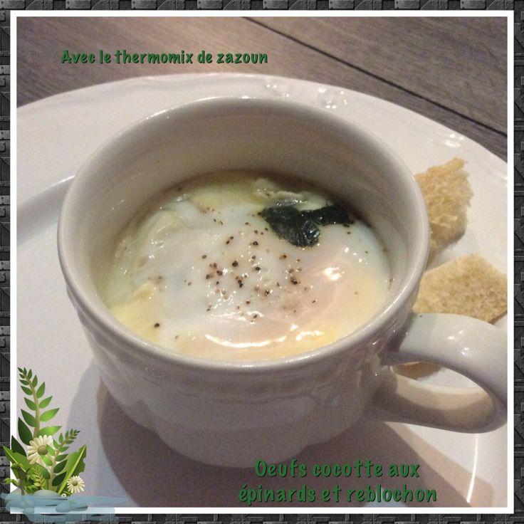 Oeufs cocottes aux épinards et reblochon cuisson varoma thermomix ou au four