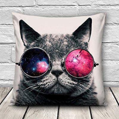 Lustige Kissenhülle Kissen Bezug Kopfkissenbezug 45 x 45cm NEU Galaxy Sunglasses Cat [002]