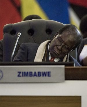 SLEEPING ON DUTY….. PICTURE OF MUGABE 'SLEEPING' AS TRUMP ADDRESSES UN GENERAL ASSEMBLY GOES VIRAL