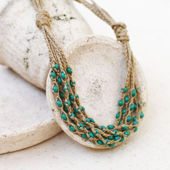 Linen Jewellery: Natural Jewelry Layered Necklace Green Tan Necklace Rustic
