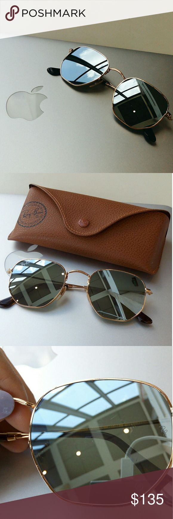 Ray Ban Hexagonal Flat Lenses (Offers are welcome) ??100% Authentic (purchased from ASOS) ??Color: Silver Flash Lenses w/ Gold frames ??Will come with its original box, case, cloth, & manual  I've owned these for only 3 months and rarely worn them. Unfortunately, my brother borrowed and scratched them. So, these do contain faint scratches on the left lens. I've tried my best to capture them in the photos.   I'm accepting reasonable offers!   More photos of the other materials will be up when…
