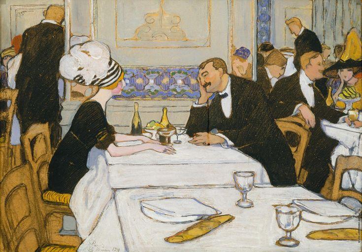http://artpoisk.info/artist/kiseleva_elena_andreevna_1878/v_restorane_parizh/. Киселева Елена Андреевна [1878—1974] В ресторане. Париж. 1911