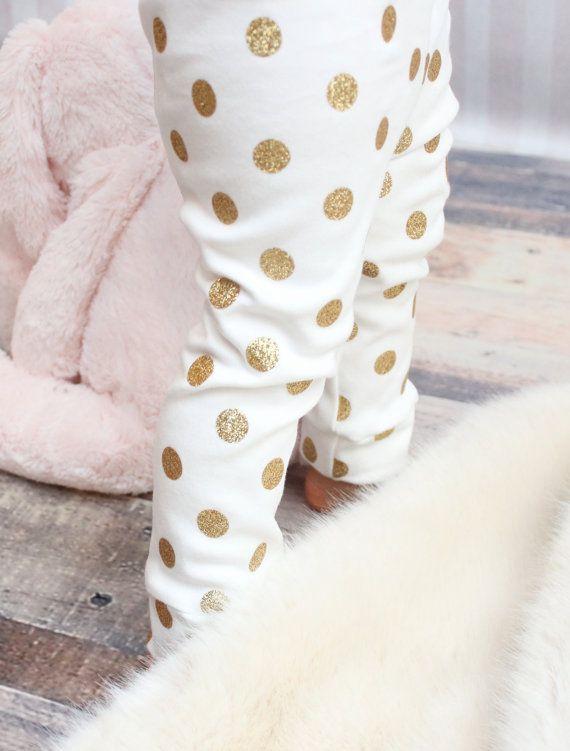 Organic Gold Glitter Polka Dot Leggings - Handmade Kids by SugarPlumLaneBaby on Etsy.