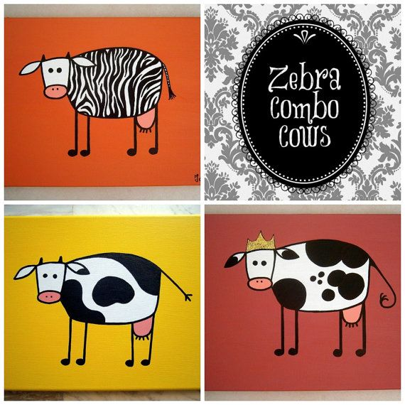 Zebra Combo Cows ~ Set of acrylic paintings on canvas by MadCowzArt, €41.00  Cow Art