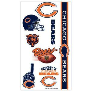 Chicago Bears Temporary Body Tattoos 3 Pack by WinCraft. $9.95. Officially licensed by the NFL.. Each tattoo sheet comes with a collection of ten (10) different temporary tattoos.. Easily removed with clear tape or soap and water.. Wincraft. Chicago Bears Temporary Body Tattoos 3 Pack. Chicago Bears Temporary Body Tattoos 3 Pack. Each tattoo sheet comes with a collection of ten (10) different temporary tattoos. Bears tattoos are applied with a wet cloth and easily removed with ...
