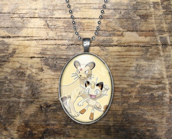 Meowth Persian Pokemon Evolution Pendant Oval by PokemonyByAnn