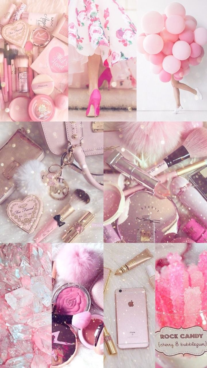 Cute Girly Collage Iphone Wallpaper in 2020 Pink
