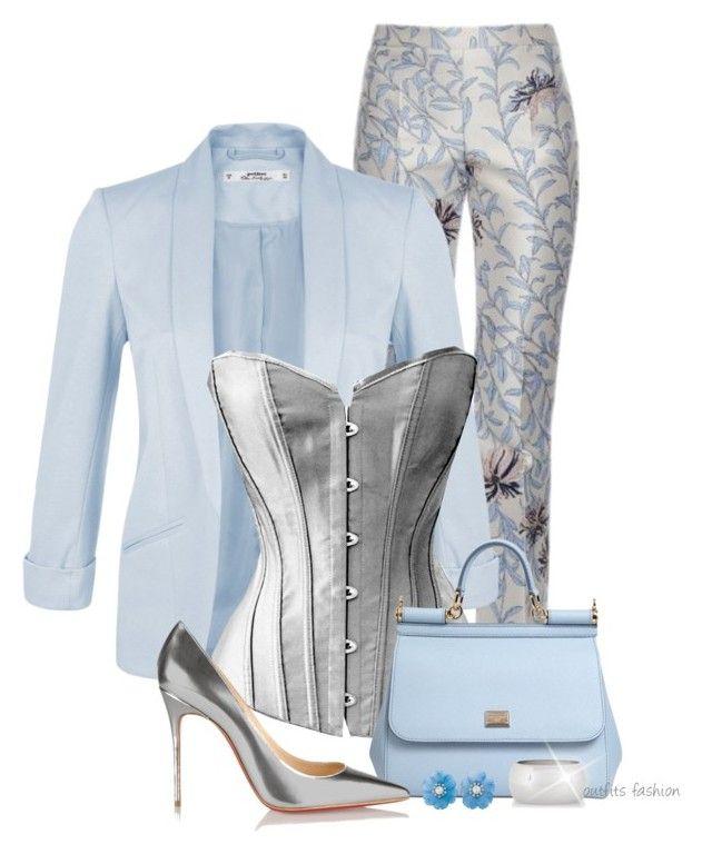 """corset silver"" by rosipolooyas on Polyvore featuring moda, Giambattista Valli, Miss Selfridge, Dolce&Gabbana, Christian Louboutin y Express"
