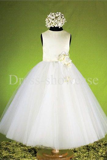 A-Line Sleeveless Satin Tulle Ankle-Length Flower Girl Dresses#flowergirls #flowergirldress #cutedress #dress #beauty #cute #wedding #birthdaydress