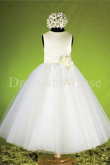 A-Line Sleeveless Satin Tulle Ankle-Length Flower Girl Dresses#flowergirls #flowergirldress #cutedress #dress #beauty #cute #wedding #birthdaydress