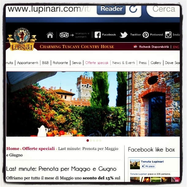 May and June 2 of the best month to travel in Tuscany , reach of events all over the regions and Lupinari is very well located in the middle if Arezzo Siena and Firenze . Have a look to our special offer for may and June http://www.lupinari.com/last-minute-offer-may-and-june.html Maggio e Giugno i mesi migliori per venire in Toscana , tutta la regione e' ricca di eventi interessanti ecco le nostre offerte : http://www.lupinari.com/it/last-minute-offer-may-and-june.html