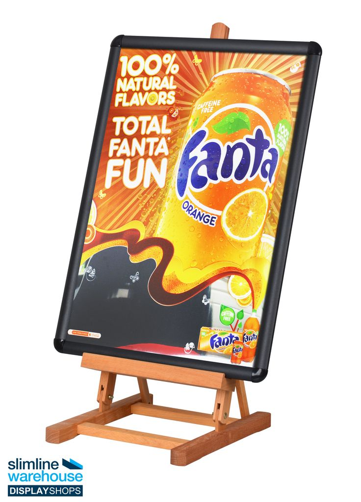 Tabletop Easel- The tabletop easel, like a table top stand or painting easel, includes a snap frame that holds custom A2 (420 x 594mm) graphics in portrait or landscape format. This clip frame also has a lens included that keeps the poster from getting dirty during display to maintain a professional look. This lens is anti-glare as well to make reading your posters easier. Changing out graphics requires no tools and takes only seconds to accomplish!