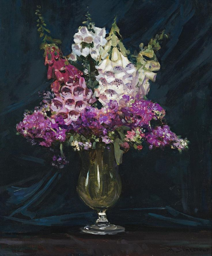 Foxgloves in a vase, 1934.  Sir Arthur Ernest Streeton (1867-1943).   Australian painter best known for his landscapes. He was influenced by the French Impressionists and Turner.