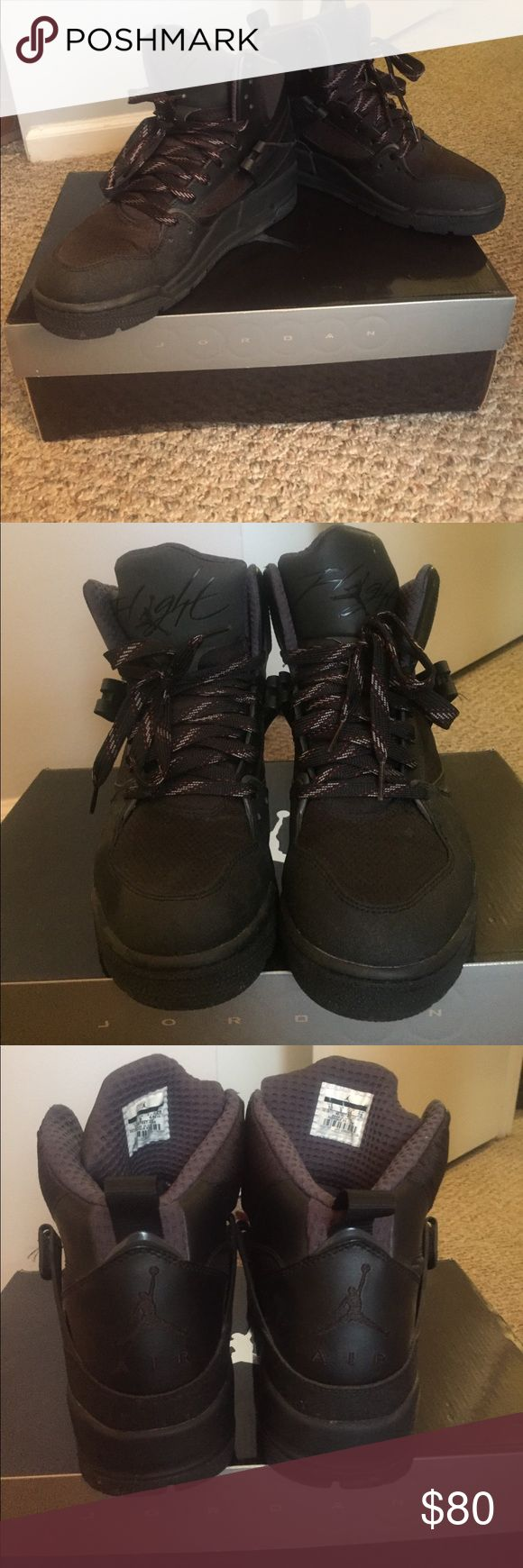 Barely used Jordan Flight 45 TRK boots! Brand new, barely used Jordan boots! My boyfriend wore these boots twice and they have been sitting in the box. They are in great condition! Size 10 with box! Jordan Shoes Boots