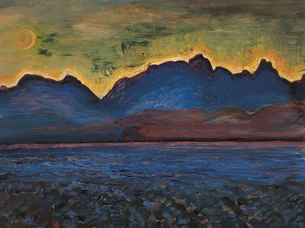 Dusk, Tantalus Range, ca 1929, Frederick Horsman Varley. Canadian (1881 - 1969) - Oil on Panel -