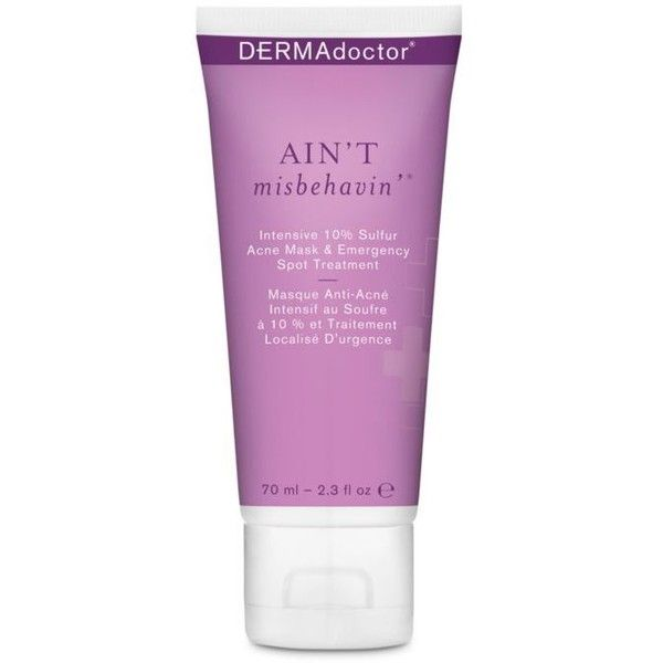 Dermadoctor  Ain't Misbehavin' Intensive 10% Sulfur Acne Mask &... ($48) ❤ liked on Polyvore featuring beauty products, skincare, face care, dermadoctor, exfoliating mask and peel mask
