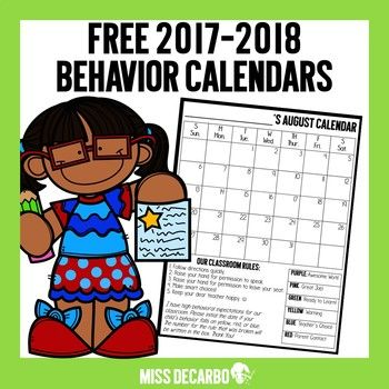 Included in this FREE download are 12 behavior calendars for the 2017-2018 school year.  The calendars contain Whole Brain Teaching rules on the bottom left and a behavior ladder on the right as an easy reminder to parents and students of your expectations!