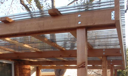 Covered patio cedar structure detail