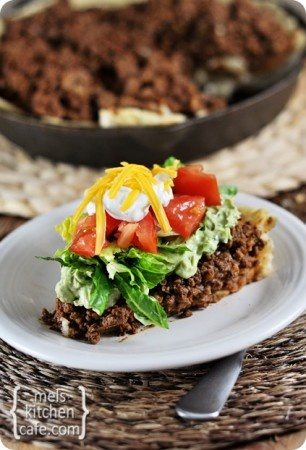 Skillet Taco Pie via  #MelsKitchenCafe (Because corn converts to sugar so quickly, I'm going to try this with chickpea/garbanzo flour instead. Looks Delicious!)