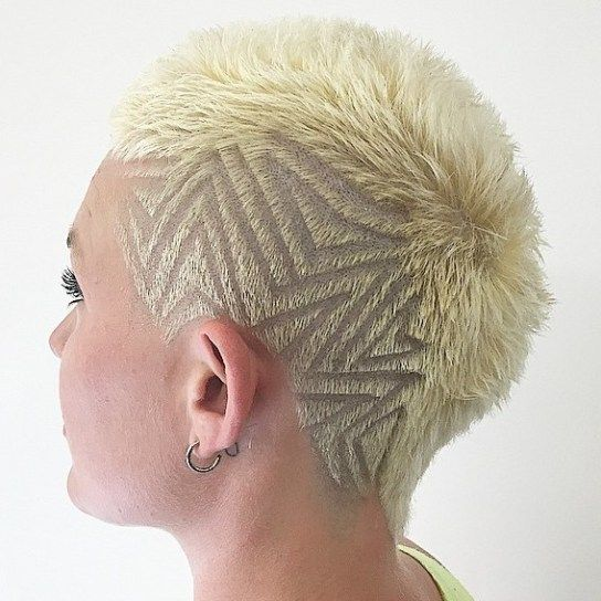 Women's Extra Short Blonde Mohawk with shaved design. Could you see yourself wearing this? What's stopping you? #hairdare