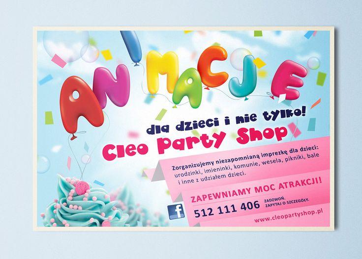 Cleo Party Shop / Projekt baneru reklamowego dla firmy zajmującej się animacjami dla dzieci.